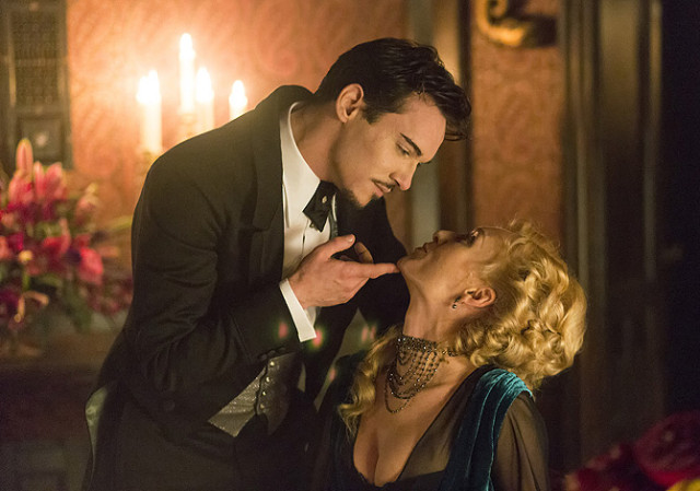 DRACULA -- Episode 2 -- Pictured: (l-r) Jonathan Rhys Meyers as Alexander Grayson, Victoria Smurfit as Lady Jayne Wetherby -- (Photo by: Jonathon Hession/NBC)