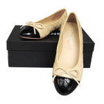 Chanel flats nude lozenge leather with bowknot2