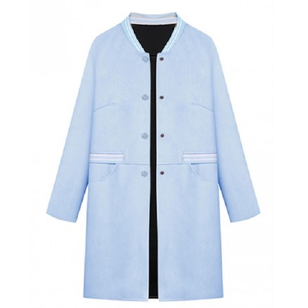 Пальто Blue Suedette Striped Collar And Pocket Longline Trench